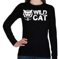 PRINTFASHION Wild Cat - Női hosszú ujjú póló - Fekete