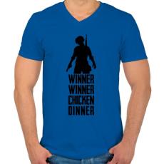 PRINTFASHION Winner Winner Chicken Dinner PUBG - Férfi V-nyakú póló - Királykék
