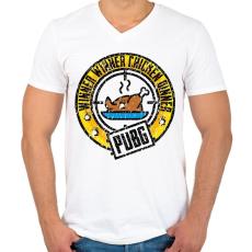 PRINTFASHION WinnerWinnerChickenDinner - Férfi V-nyakú póló - Fehér