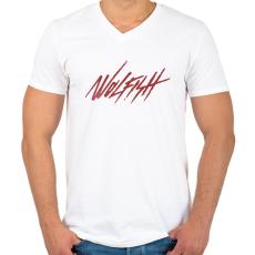 PRINTFASHION Wolfish - Férfi V-nyakú póló - Fehér