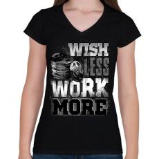 PRINTFASHION WORK MORE - Női V-nyakú póló - Fekete