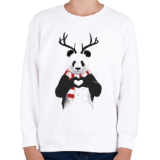 PRINTFASHION Xmas panda - Gyerek pulóver - Fehér