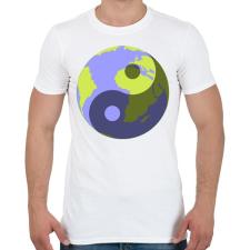 PRINTFASHION Yin-Yang bolygó - Férfi póló - Fehér férfi póló