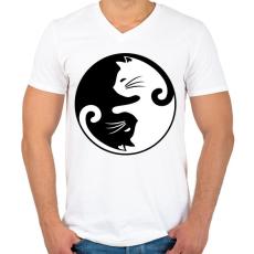 PRINTFASHION yin yang cicák - Férfi V-nyakú póló - Fehér