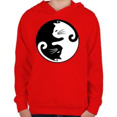 PRINTFASHION yin yang cicák - Gyerek kapucnis pulóver - Piros