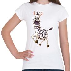 PRINTFASHION Zebrás póló - Női póló - Fehér