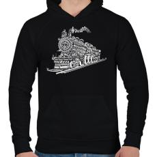 PRINTFASHION Zenevonat - Férfi kapucnis pulóver - Fekete