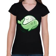 PRINTFASHION Zöld bálna - Női V-nyakú póló - Fekete