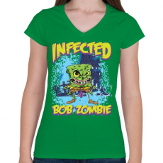 PRINTFASHION Zombi Bob - Női V-nyakú póló - Zöld