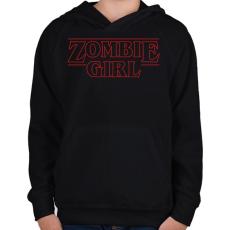 PRINTFASHION Zombi lány - Gyerek kapucnis pulóver - Fekete