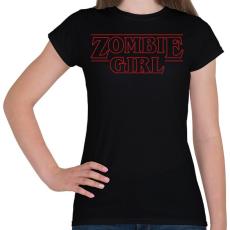 PRINTFASHION Zombi lány - Női póló - Fekete