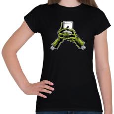 PRINTFASHION Zombie és a telefon - Női póló - Fekete