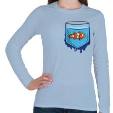 PRINTFASHION Zseb hal - Női hosszú ujjú póló - Világoskék