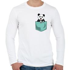 PRINTFASHION ZSEB-Panda - Férfi hosszú ujjú póló - Fehér