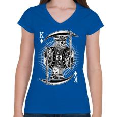 PRINTFASHION Zsugakirály - Női V-nyakú póló - Királykék