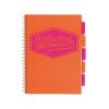 """Pukka pad Spirálfüzet, A4, kockás, 100 lap, PUKKA PAD """"Project book Neon"""", narancs"""
