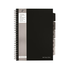 "Pukka pad Spirálfüzet, A4, vonalas, 125 lap, PUKKA PAD ""Black project book"", fekete füzet"