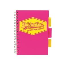 """Pukka pad Spirálfüzet, A5, kockás, 100 lap, PUKKA PAD """"Project book  Neon"""", rózsaszín füzet"""