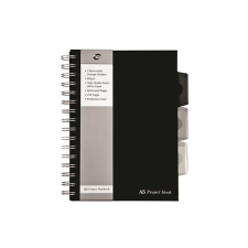 "Pukka pad Spirálfüzet, A5, vonalas, 125 lap, PUKKA PAD ""Black project book"", fekete füzet"