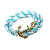 Ragyogj.hu Anchorissime - horgony karkötő - arany - fehér és világoskék kötéllel