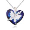Ragyogj.hu Butterfly heart- kék- Swarovski kristályos nyaklánc