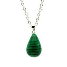 Ragyogj.hu Csepp alakú természetes kőből készült nyaklánc - zöld cirmos nyaklánc