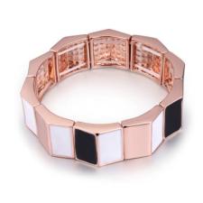 Ragyogj.hu Gold stones - karkötő- Swarovski kristályos - fekete-fehér karkötő