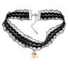 Ragyogj.hu Gótikus csipkés nyaklánc- háromszög alakú Swarovski kristállyal- borostyán