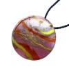 Ragyogj.hu Muránói üveg medál, kör alakú -citromsárga-barna