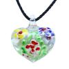 Ragyogj.hu Muránói üveg medál, szív alakú, virágokkal - piros- sárga-kék