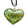 Ragyogj.hu Muránói üveg medál, szív alakú -zöld