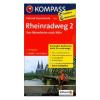 Rajna menti kerékpáros útvonal 2. térkép Mannheim-Köln / Kompass