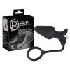 Rebel - kúpos anál vibrátor péniszgyűrűvel (fekete)