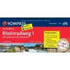 Rheinradweg 1 - (vom Bodensee nach Mannheim) kerékpáros túrakalauz - Kompass FF 6278
