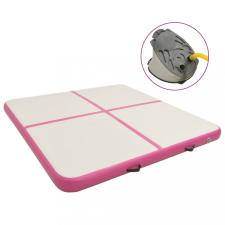 Rózsaszín PVC felfújható tornamatrac pumpával 200 x 200 x 20 cm jóga felszerelés