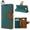 Samsung Galaxy A5 (2016) SM-A510F, Oldalra nyíló tok, stand, Mercury Canvas Diary, textil hatás, zöld