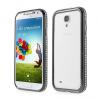 Samsung Galaxy S4 i9500, alumínium védőkeret, Bumper, strasszkővel, fekete