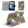 Samsung Galaxy Tab 2 7.0 P3100, bőrtok, mappa tok, virágminta, barna