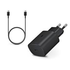 Samsung gyári Type-C hálózati töltő adapter + Type-C adat- és töltőkábel - 5V/3A - EP-TA800EBE PD3.0 + EP-DA905BBE - black (ECO csomaglás) mobiltelefon kellék