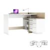 Sarok számítógépasztal, fehér/sonoma tölgyfa, TALE 484881