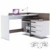 Sarok számítógépasztal, fehér/sötét trufla tölgyfa, TALE 484879