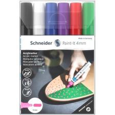 """SCHNEIDER Akril marker készlet, 4 mm, SCHNEIDER """"Paint-It 320"""", 6 különböző szín filctoll, marker"""