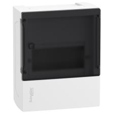 Schneider Electric MIP12106S Mini Pragma műanyag kiselosztó, 6 modul, 1 sor, IP40, füstszínű átlátszó ajtóval, falon kívüli villanyszerelés