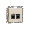 Schneider Electric SDD112452 Informatikai csatlakozóaljzat 2xRJ45, Cat5e UTP, bézs burkolattal, keret nélkül, csavaros bekötés (Sedna Design / Elements)