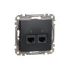 Schneider Electric SDD114467 Informatikai csatlakozóaljzat 2xRJ45, Cat6A UTP, antracit burkolattal, keret nélkül, csavaros bekötés (Sedna Design / Elements)