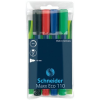"""SCHNEIDER Tábla- és flipchart marker készlet, 1-3 mm, kúpos, SCHNEIDER """"Maxx Eco 110"""", 4 különböző szín"""