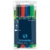 """SCHNEIDER Tábla- és flipchart marker készlet, 1-3 mm, kúpos, SCHNEIDER """"Maxx Eco 110\"""", 4 különböző szín [4 db]"""