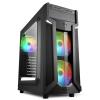 Sharkoon Számítógépház - VG6-W RGB (fekete; ATX,mATX; alsó táp; címezhető RGB 3x120mm v.; 2xUSB3.0 + 2xUSB2.0; I/O)