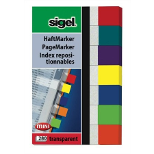 "SIGEL Jelölőcímke, műanyag, 7x40 lap, 20x50 mm, SIGEL ""Transparent"", vegyes szín post-it"