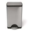 SimpleHuman Pedálos szemetes, szögletes, 38 l, rozsdamentes acél, SIMPLEHUMAN